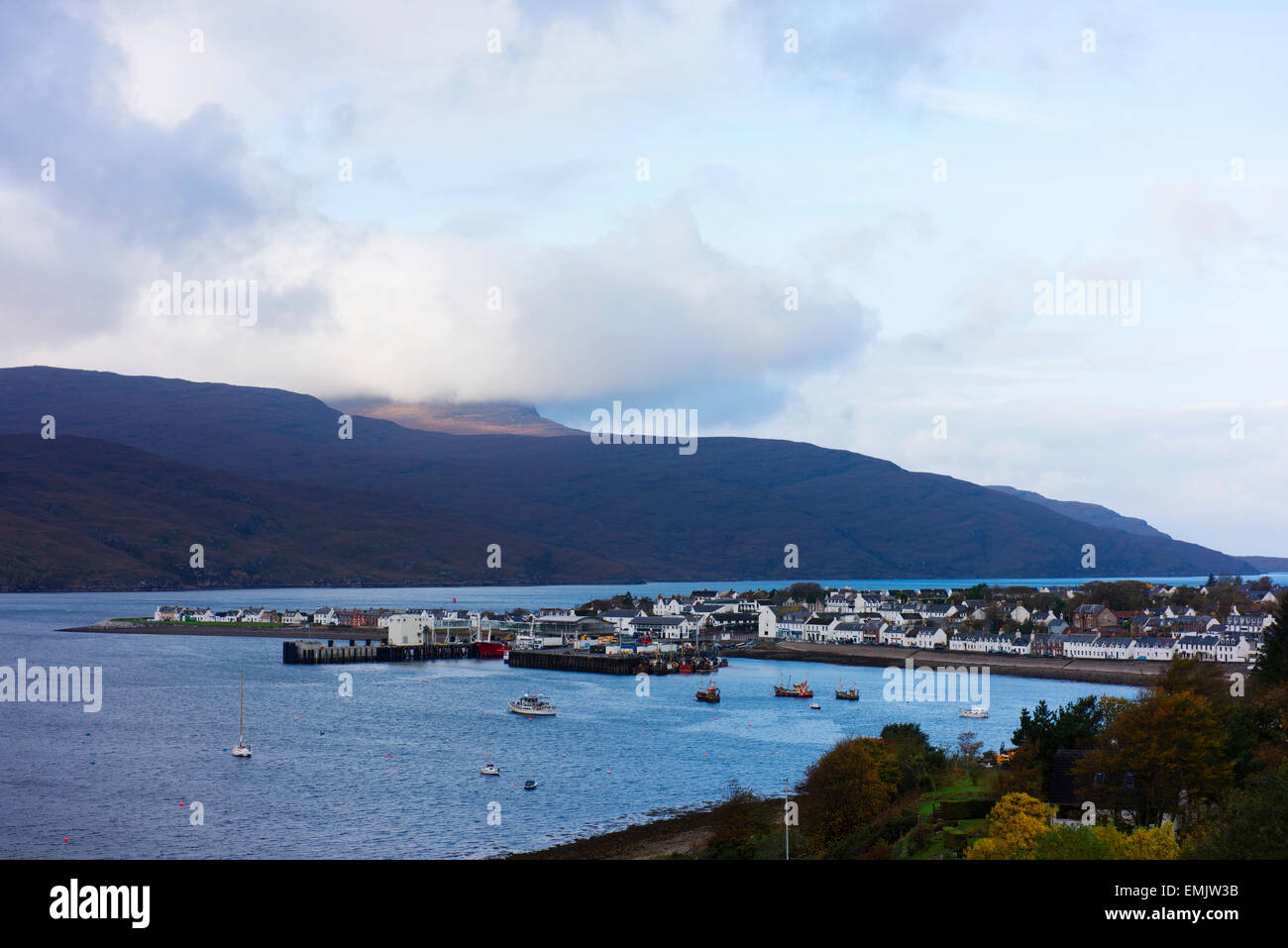 Ullapool and it's port on Loch Broom in Scotland's Highlands. - Stock Image