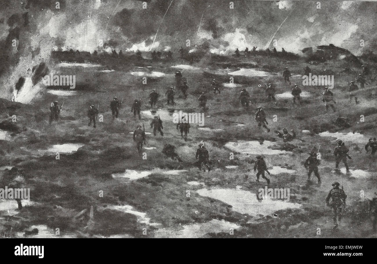 A Typical battlefield on the Western Front - World War I - Stock Image