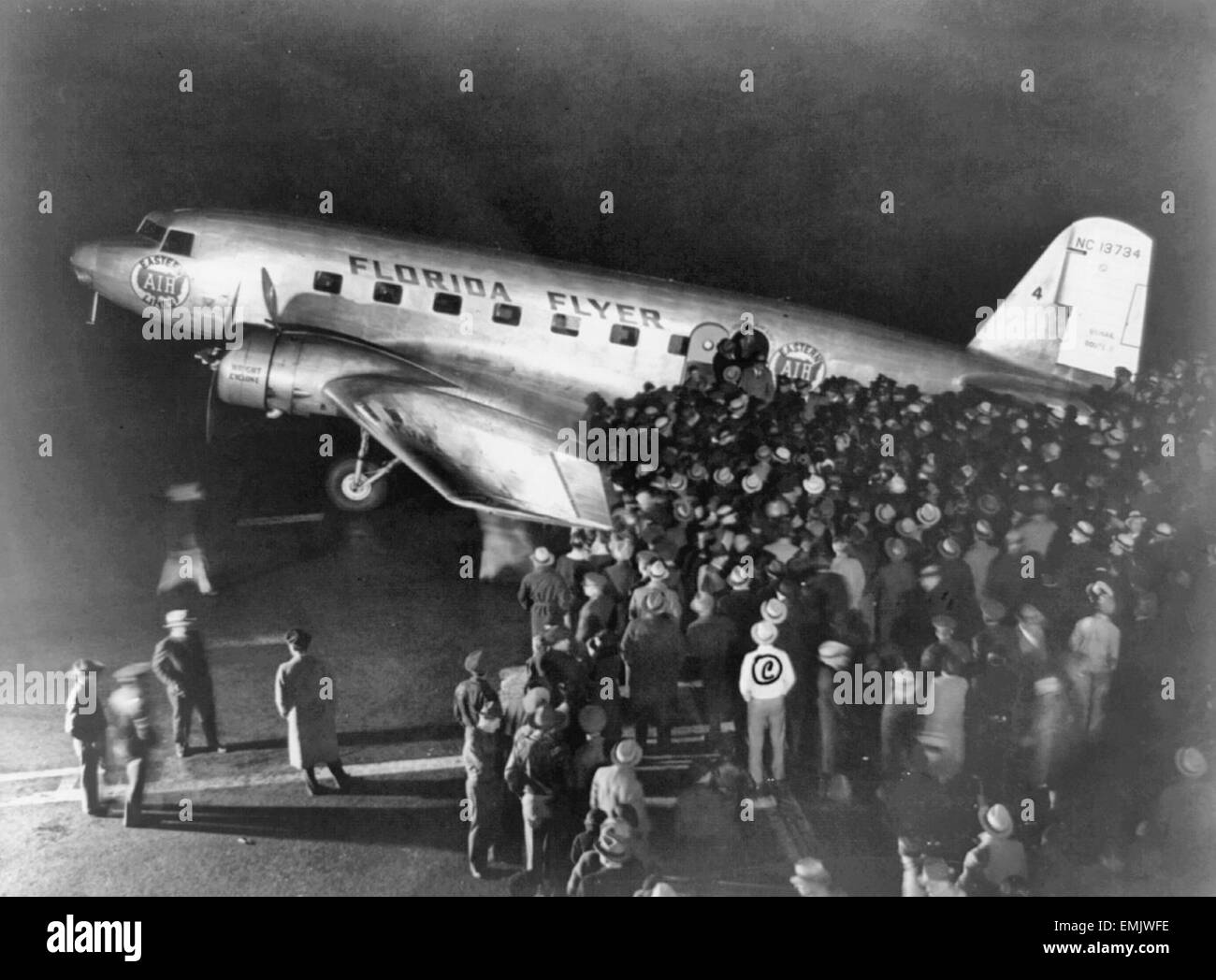Florida Flyer arrives at Newark Airport  1934 - Stock Image