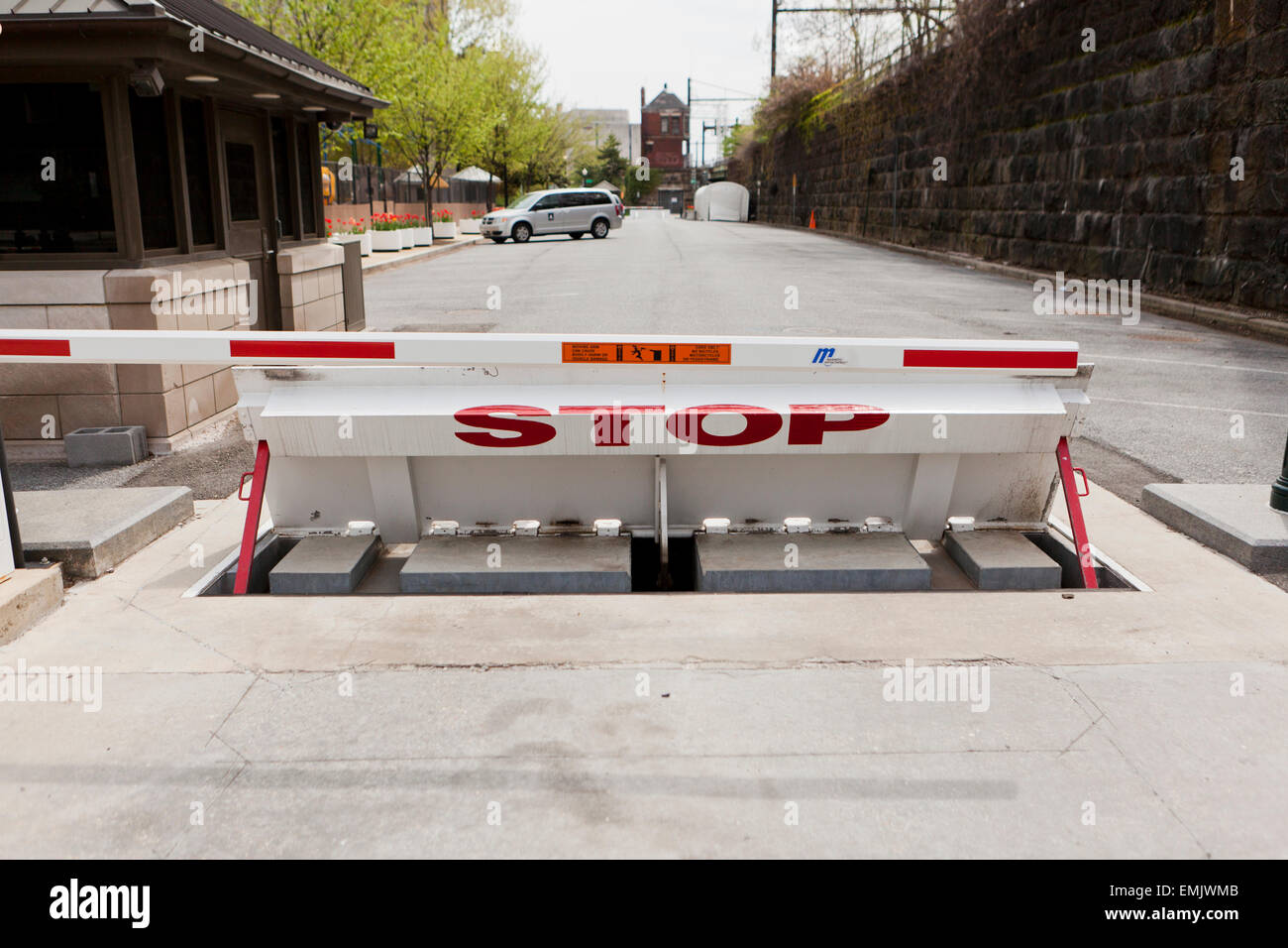 Wedge barrier vehicle stop gate - USA - Stock Image