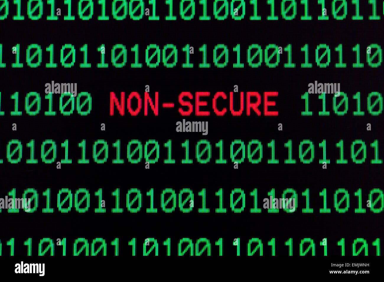 Non-secure message on computer screen - Stock Image