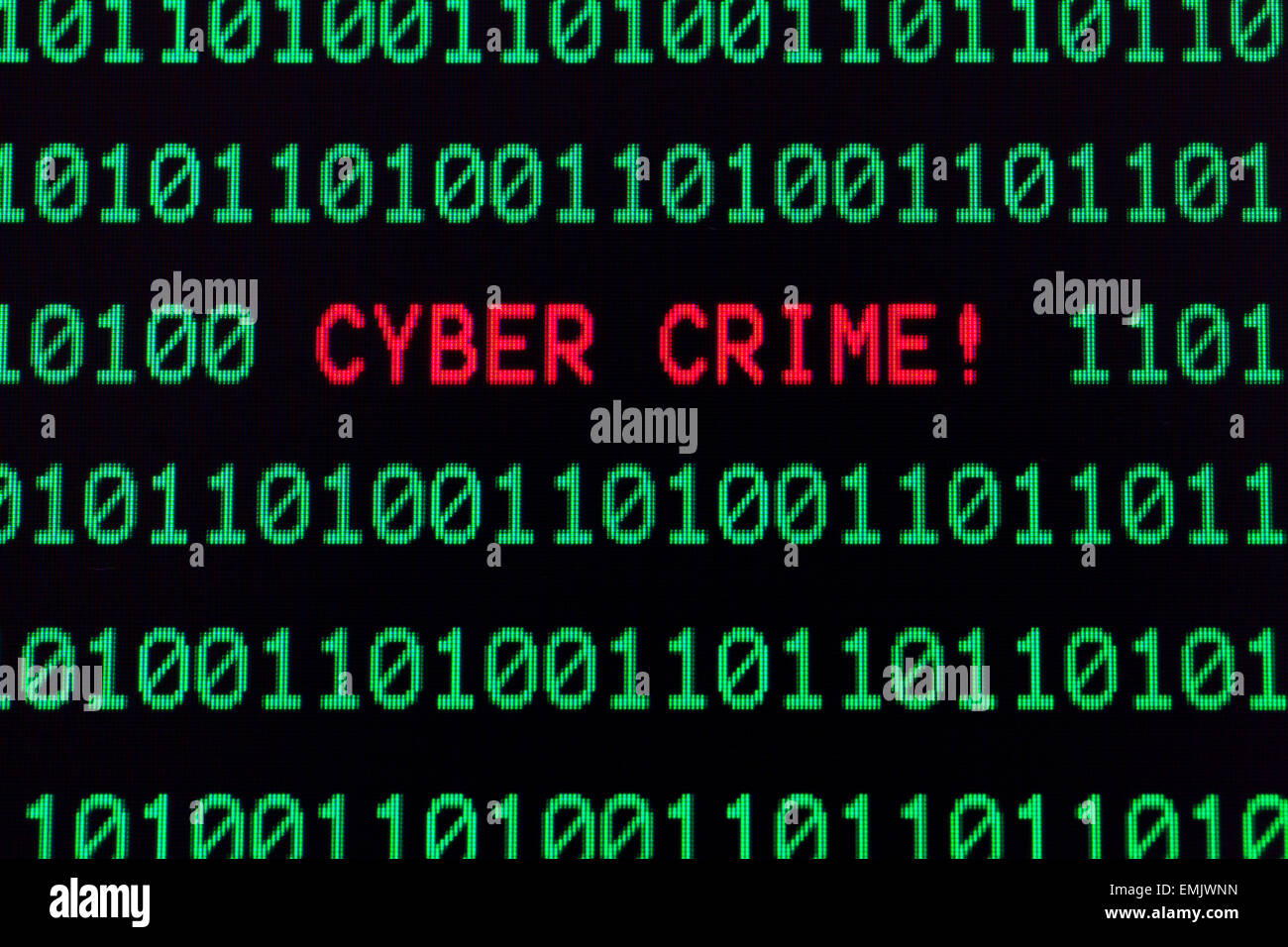 Cyber crime message on computer screen - Stock Image