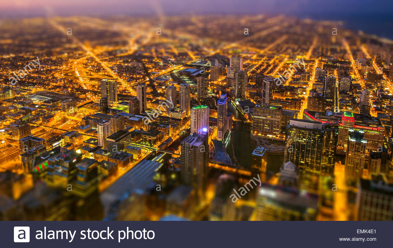 Digitally generated image of city aerial view - Stock Image