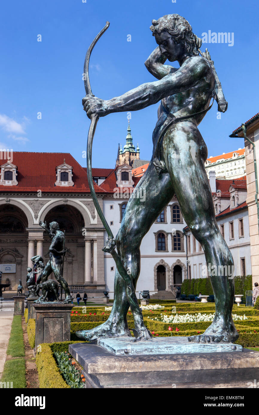 Wallenstein Palace garden with statues of Adrian de Vries, Prague, Czech Republic, Apollon - Stock Image