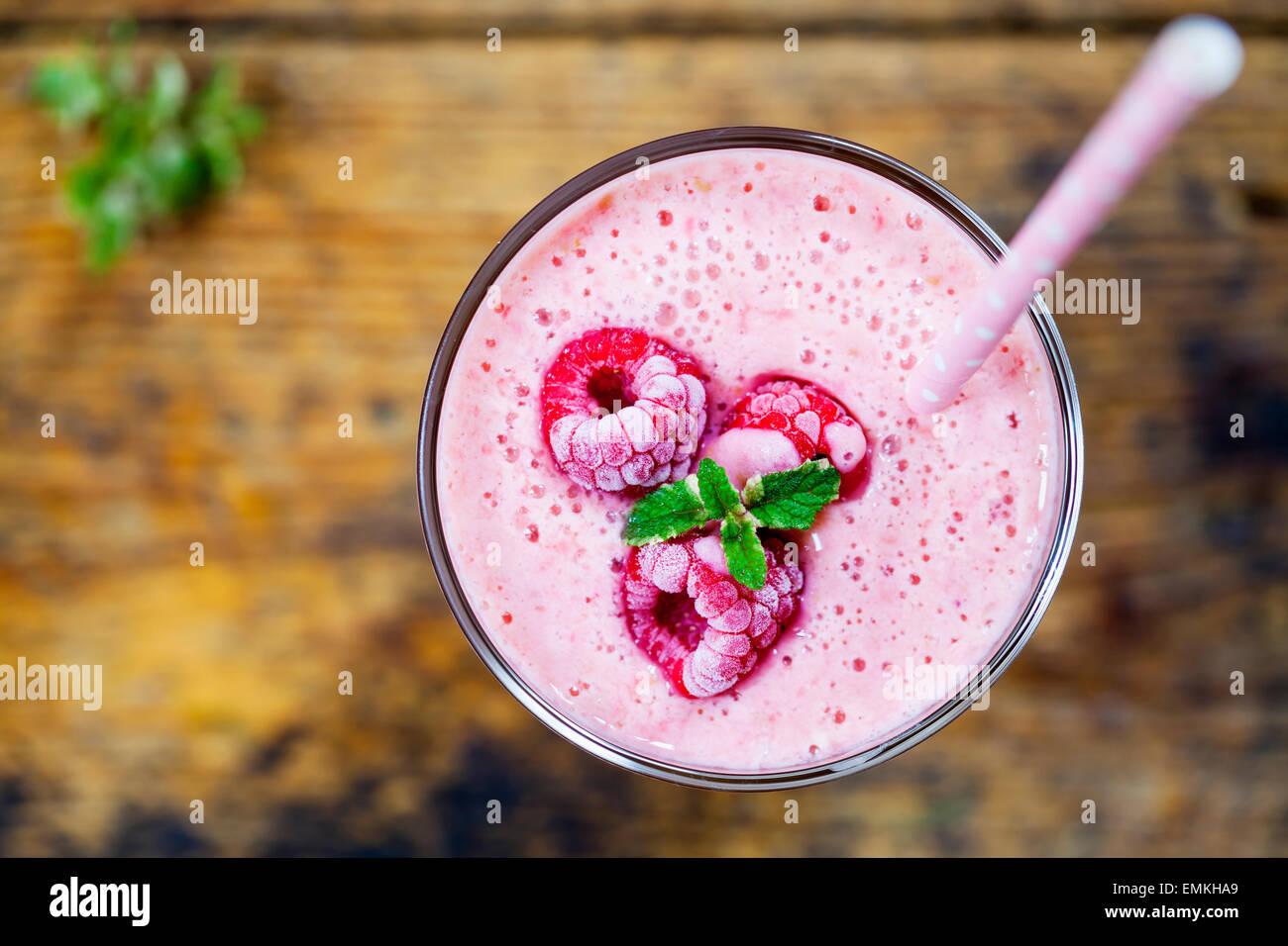 Raspberry milkshake - Stock Image