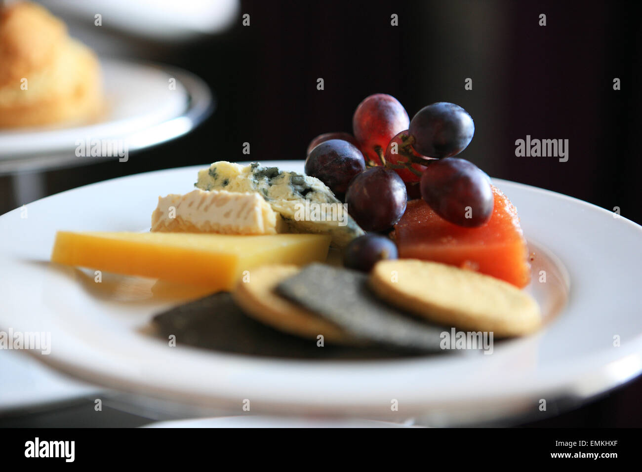 Cheese and oatcake platter with grapes and quince jelly part of the Blasad Albannach (Tasty Scotland) afternoon - Stock Image