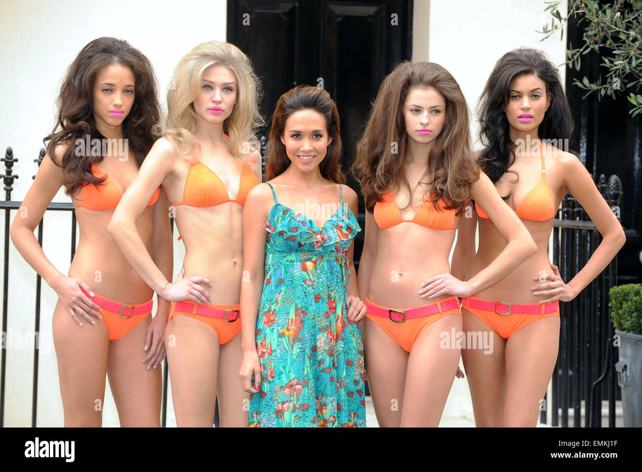 839c2d1a7e LONDON MYLEENE KLASS POSES WITH MODELS AT THE HAYMARKET HOTEL TO LAUNCH HER  NEW SWIMWEAR RANGE FOR LITTLEWOODS.COM IN LONDON