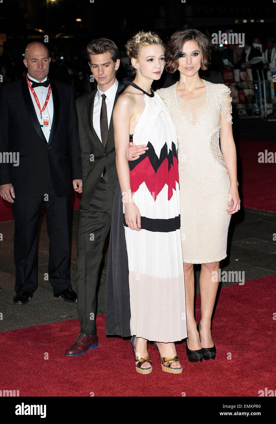 13.OCTOBER.2010 - LONDON  KEIRA KNIGHTLEY, CAREY MULLIGAN AND ANDREW GARFIELD ATTEND THE UK PREMIERE OF THEIR NEW - Stock Image