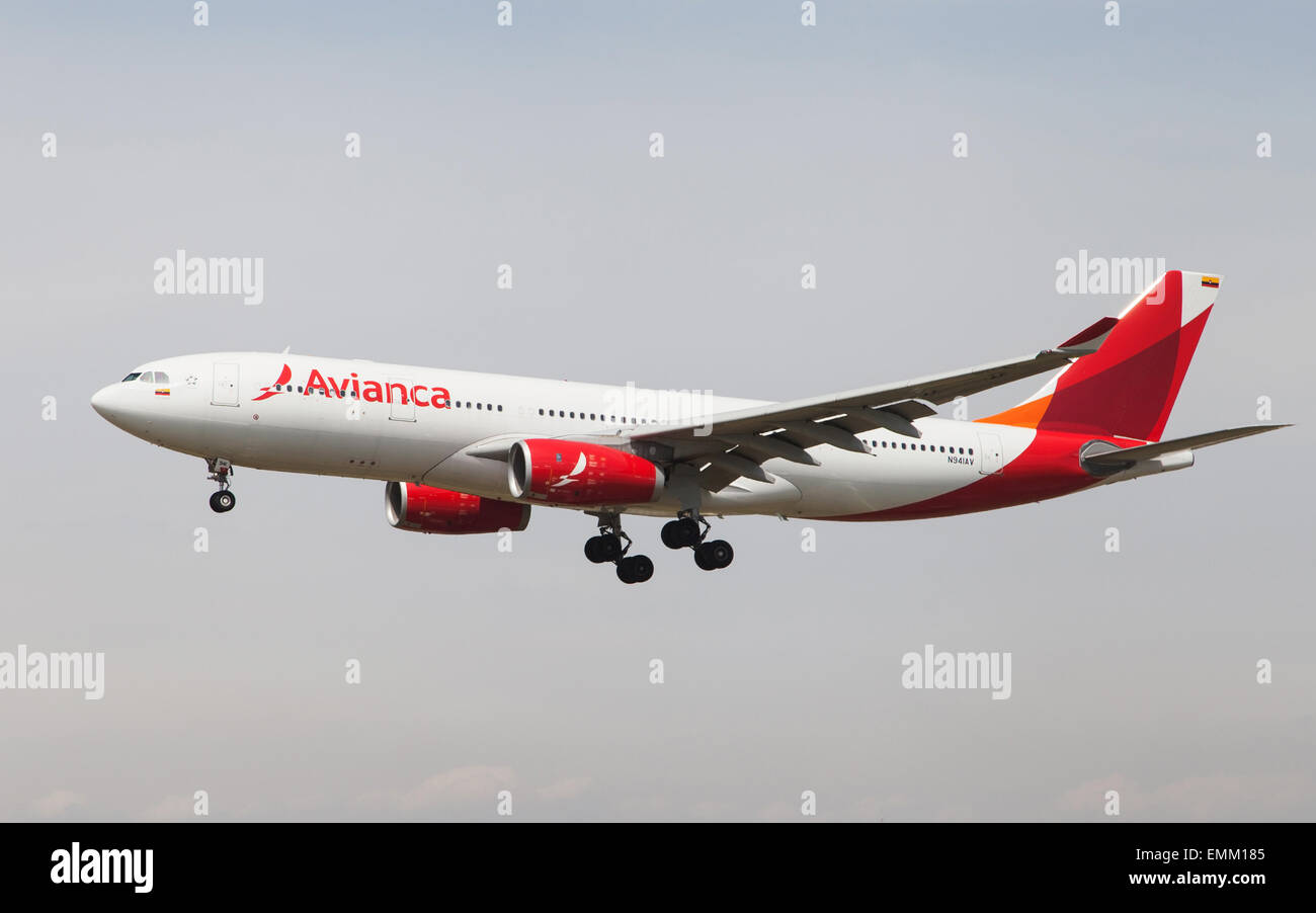 An Avianca Airbus A330 approaching to the El Prat Airport in Barcelona, Spain. - Stock Image