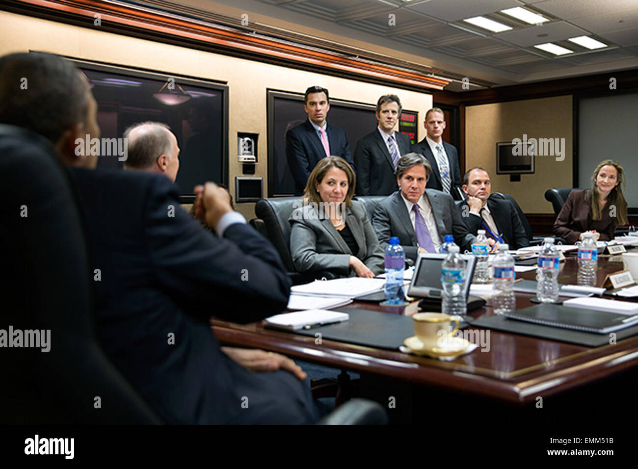 02.APRIL.2013. WASHINGTON D.C.  PRESIDENT BARACK OBAMA ATTENDS A MEETING IN THE SITUATION ROOM OF THE WHITE HOUSE, - Stock Image