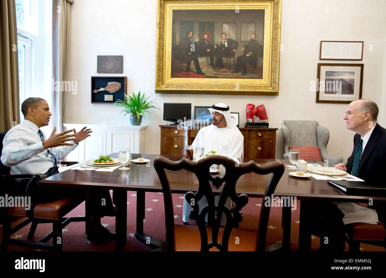 27.JUNE.2012. WASHINGTON D.C.  PRESIDENT BARACK OBAMA HAS LUNCH WITH ABU DHABI CROWN PRINCE MOHAMMED BIN ZAYED AL - Stock Image