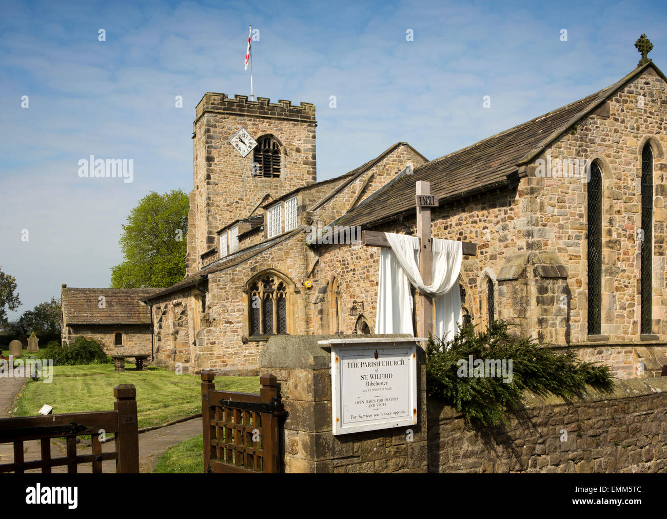 UK, England, Lancashire, Ribble Valley, Ribchester, Parish Church of St Wilfrid, with 1812 clock in tower - Stock Image