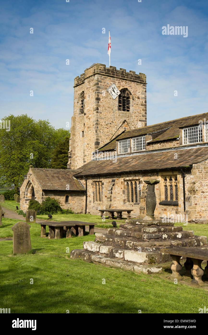 UK, England, Lancashire, Ribble Valley, Ribchester, Parish Church of St Wilfrid, churchyard cross base & sundial - Stock Image