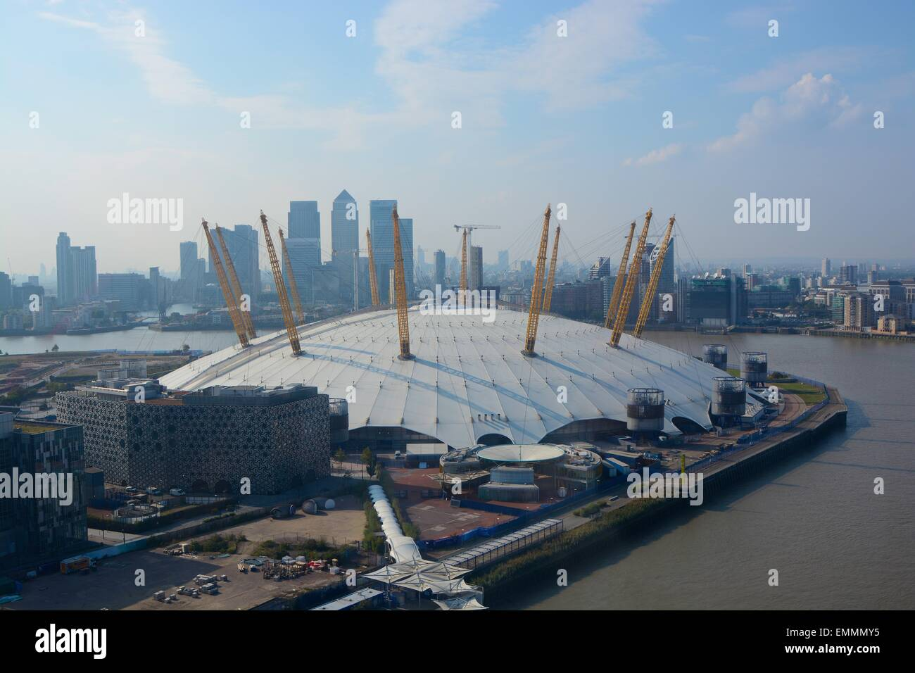 The O2 Arena on the Greenwich Peninsular, London, England. Aerial view with Docklands in background Stock Photo