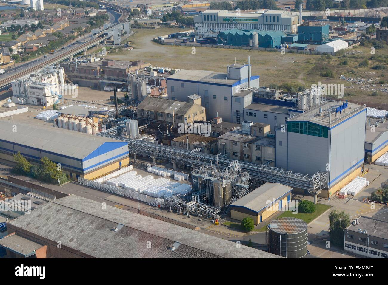 Duplex factory in Docklands, London, England. Aerial view . - Stock Image