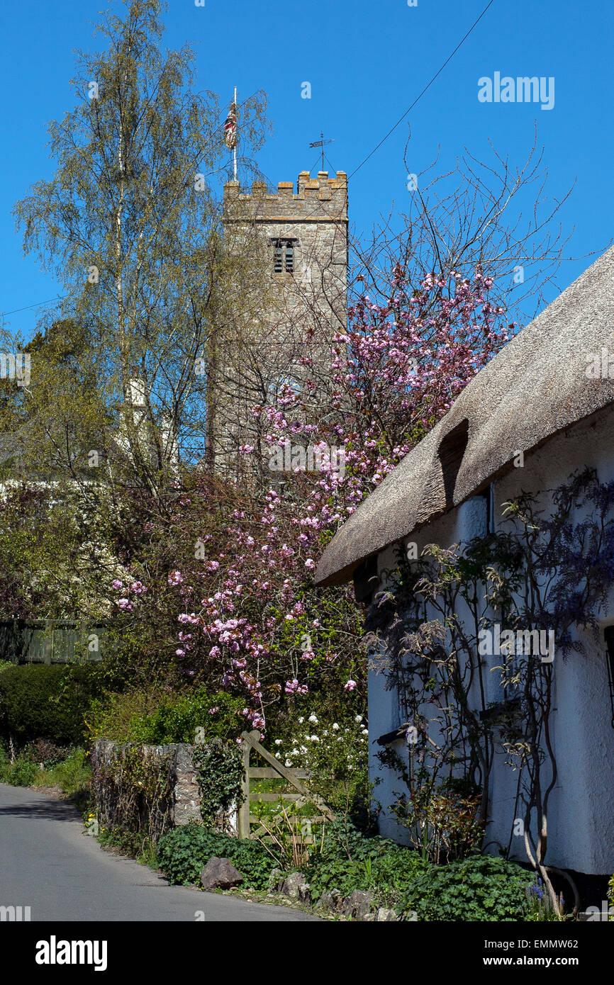 DUNSFORD,Dunsford Devon,BRITON STREET LANE,Dunsford,traditional Devon Cob and Thatch,  Doone Cottage, village of Stock Photo