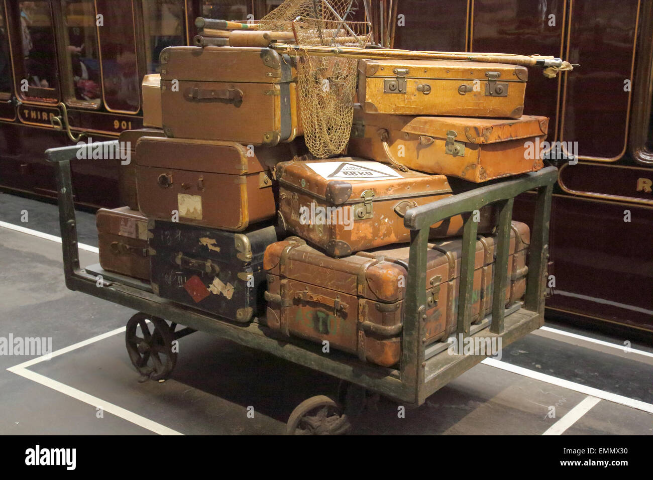 old luggage in the national railway museum in york - Stock Image