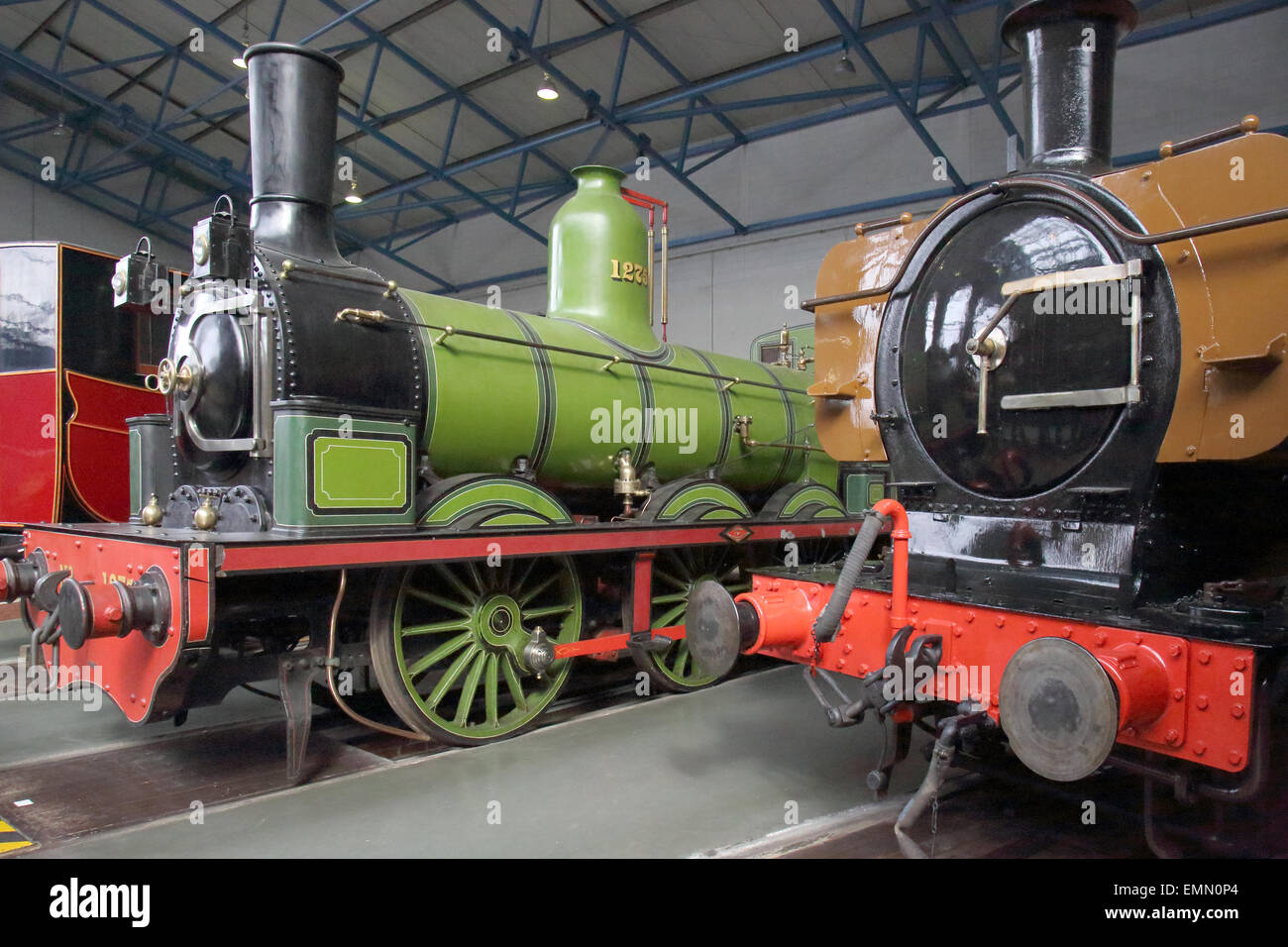 old steam trains in the national railway museum in york england - Stock Image