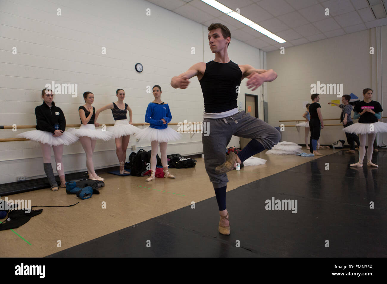 ballet dancers are training in Banff cultural center, Canada - Stock Image