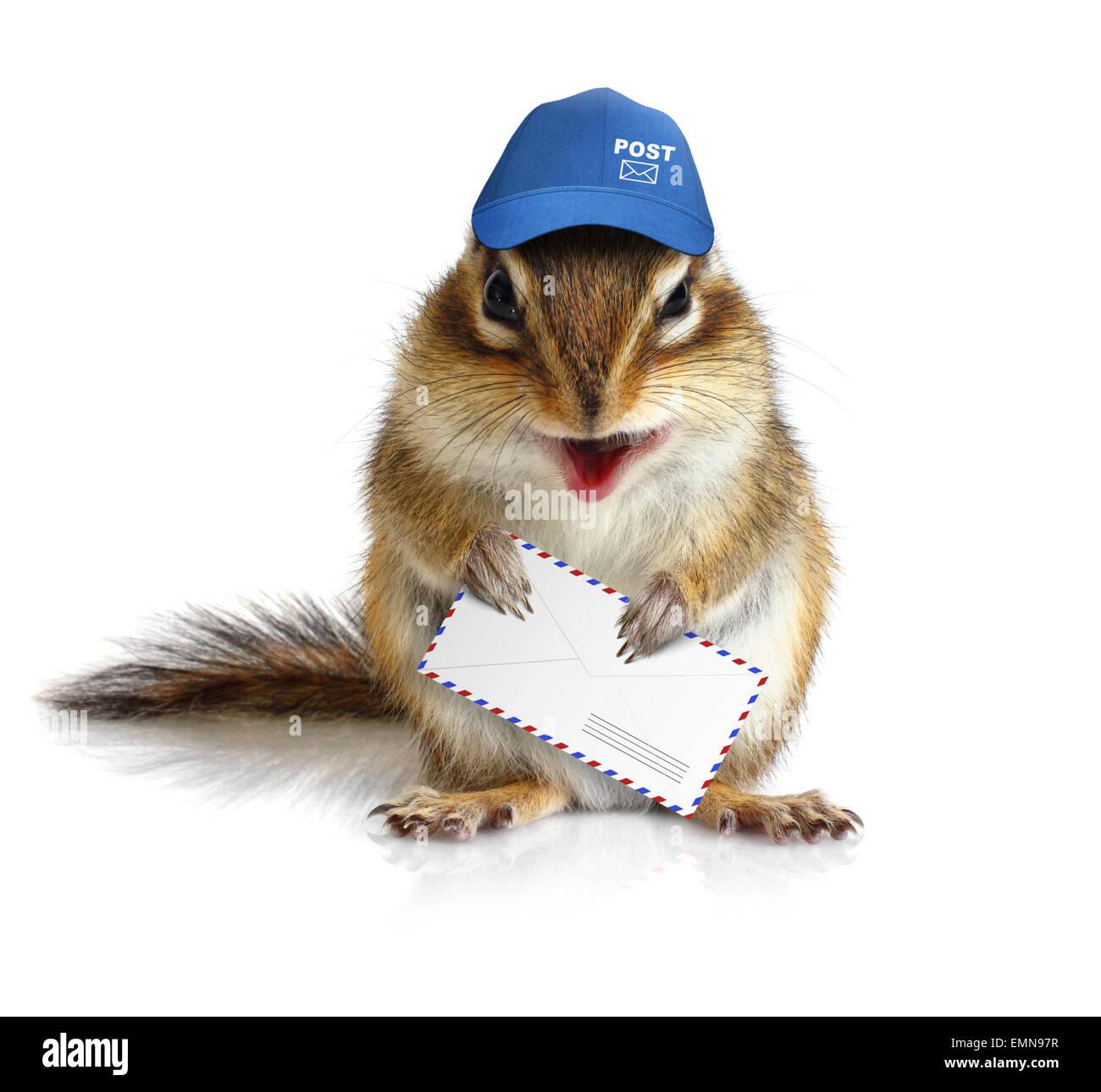 comical chipmunk postman hold mail envelope - Stock Image