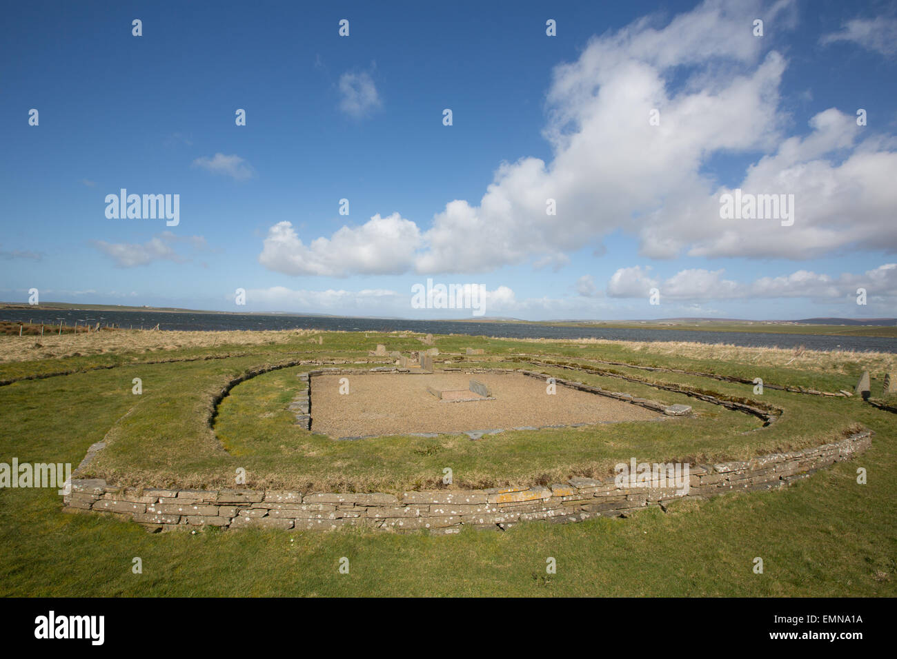 Barnhouse Neolithic settlement beside the Stones of Stenness, Orkney - Stock Image