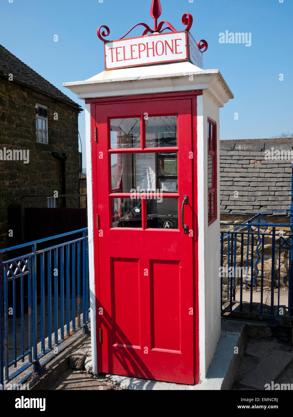 Vintage wooden K1 Telephone Kiosk at the Crich Tram Museum, Crich, Matlock, Derbyshire, UK. - Stock Image
