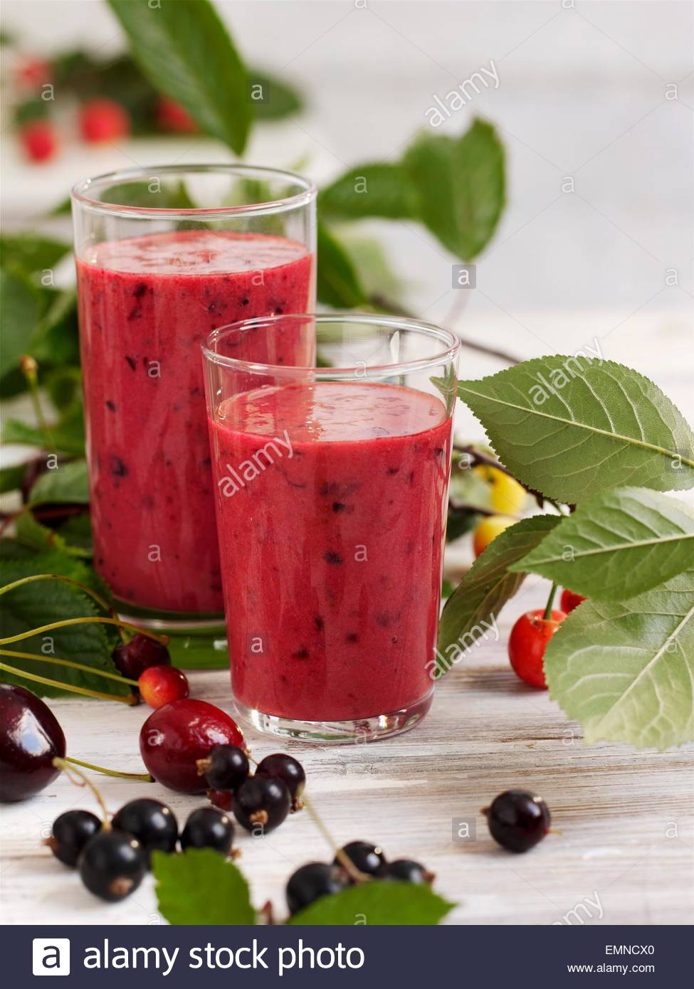 Berry and cherry smoothie - Stock Image