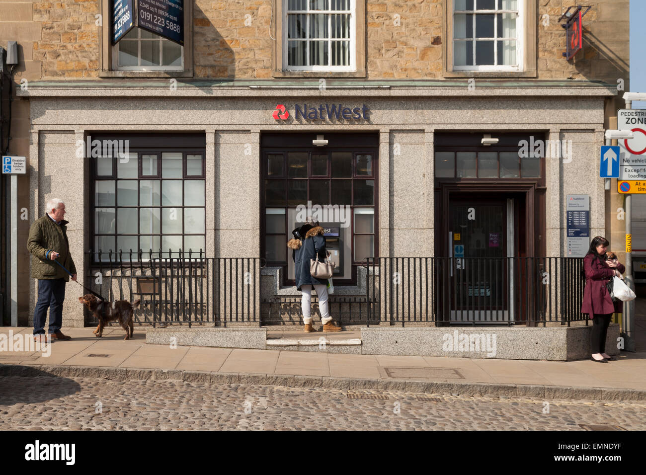 The exterior of the NatWest Bank, the market square, Richmond, Yorkshire, UK - Stock Image