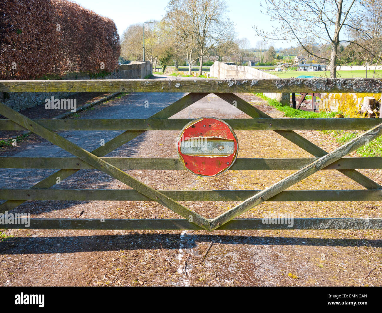 Old no entry sign on gate in the village of Ashford in the water, Derbyshire, England, UK. - Stock Image