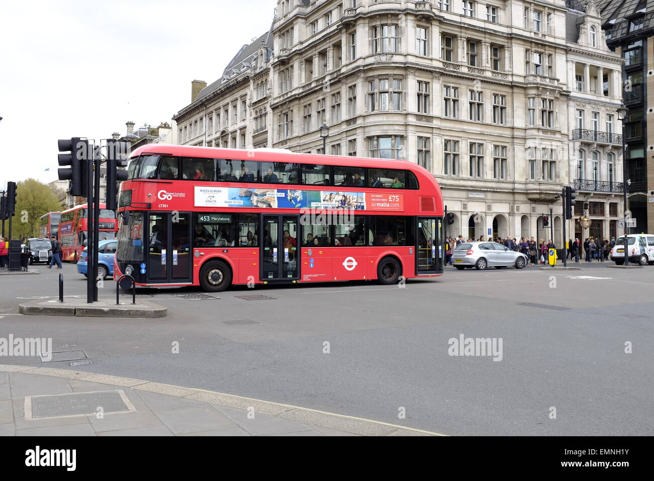 New Routemaster Bus for London in Westminster - Stock Image