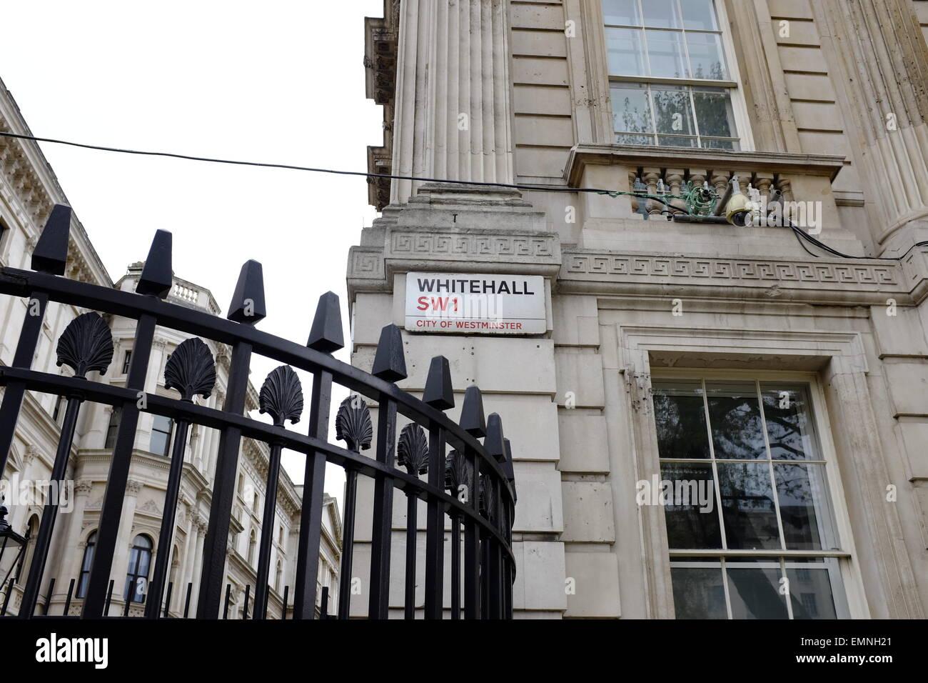 Whitehall Street Sign, Westminster, London, England, UK - Stock Image