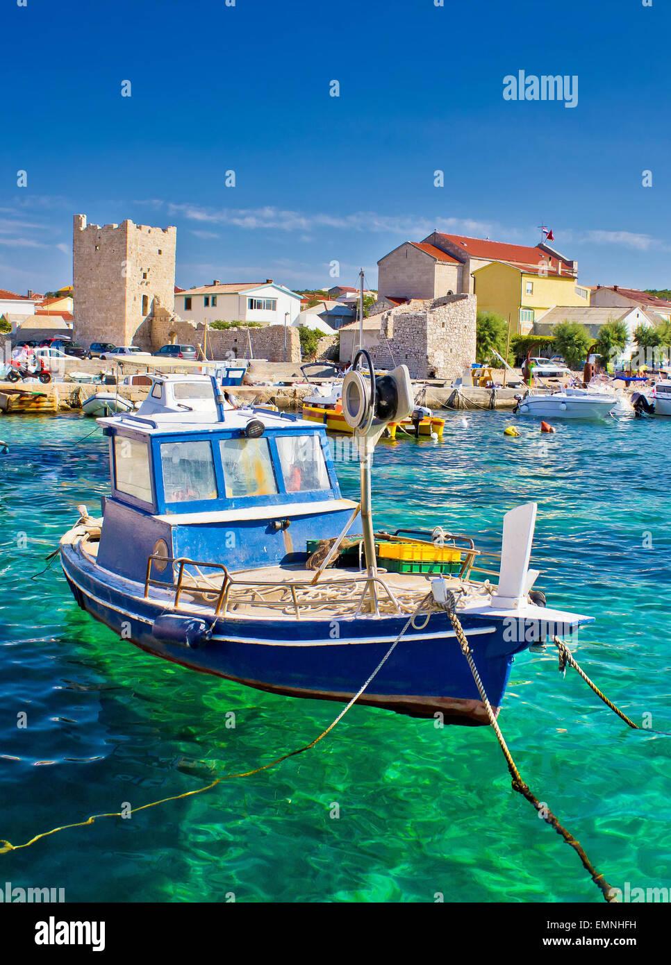 Adriatic Town of Razanac colorful waterfront, Dalmatia, Croatia - Stock Image