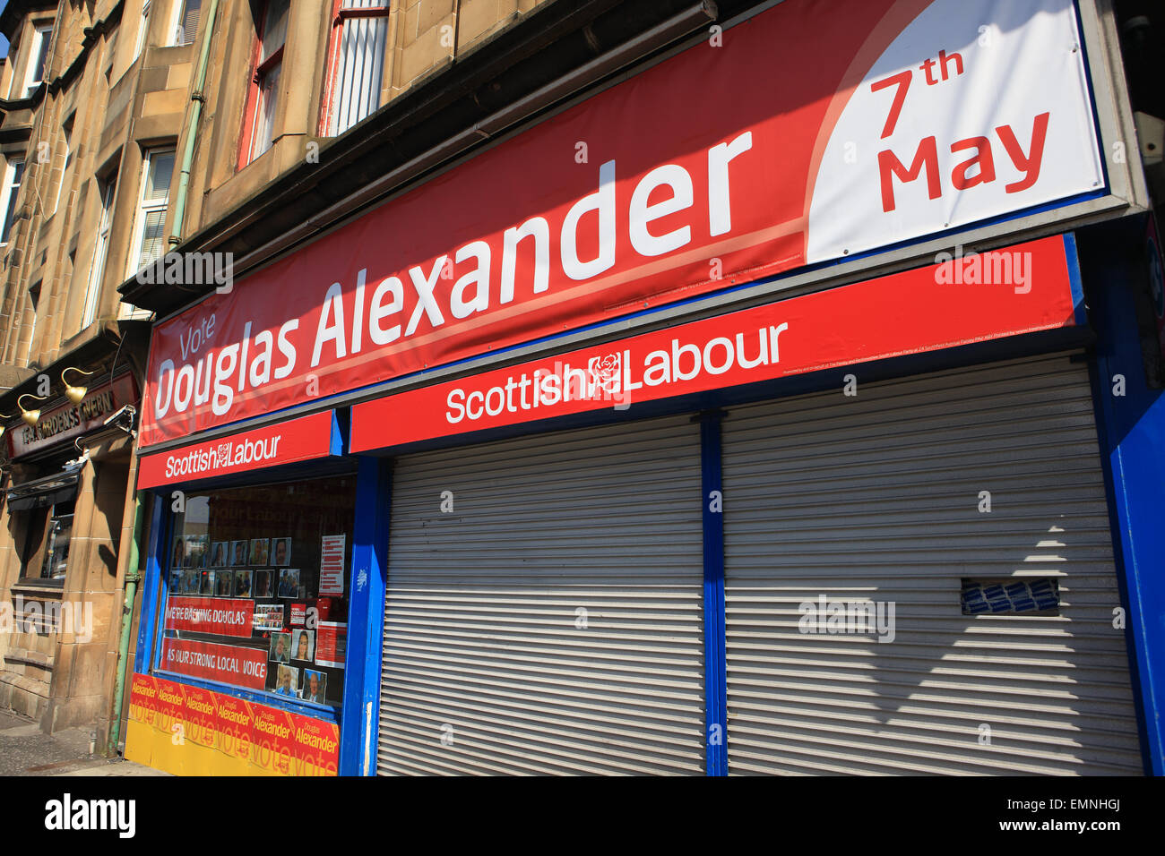Douglas Alexander, Labour Party politician, campaign office in Paisley being used prior to the General Election - Stock Image