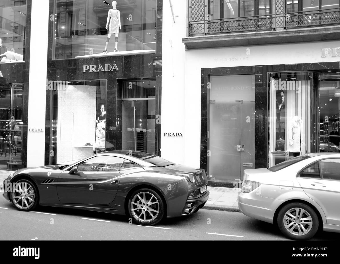 Ferrari California parked in Old Bond Street, London Stock Photo
