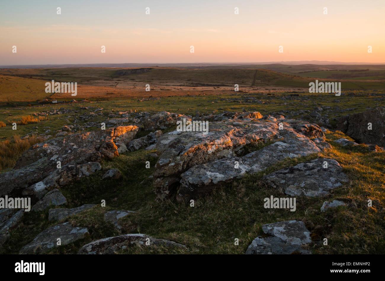 Warm evening light falling on Bodmin moor in East Cornwall Stock Photo