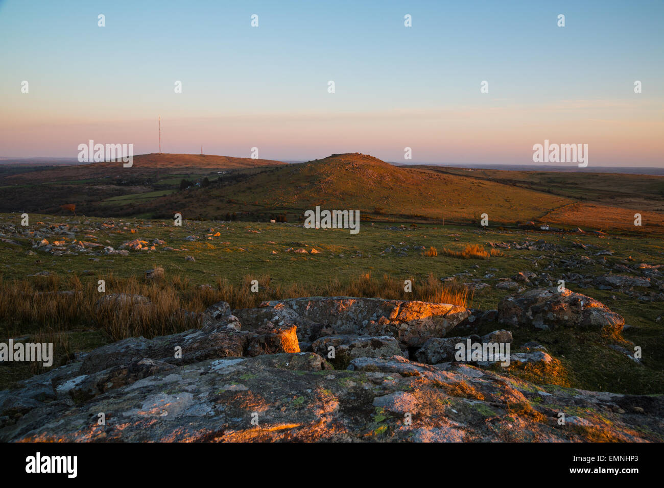 Warm evening light on the moorland landcape on bodmin moor - Stock Image