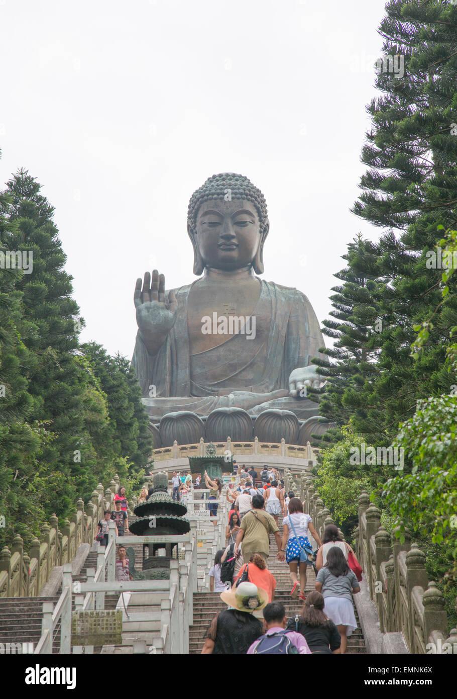 A Buddha statue on the Lantau island in Hong Kong. - Stock Image