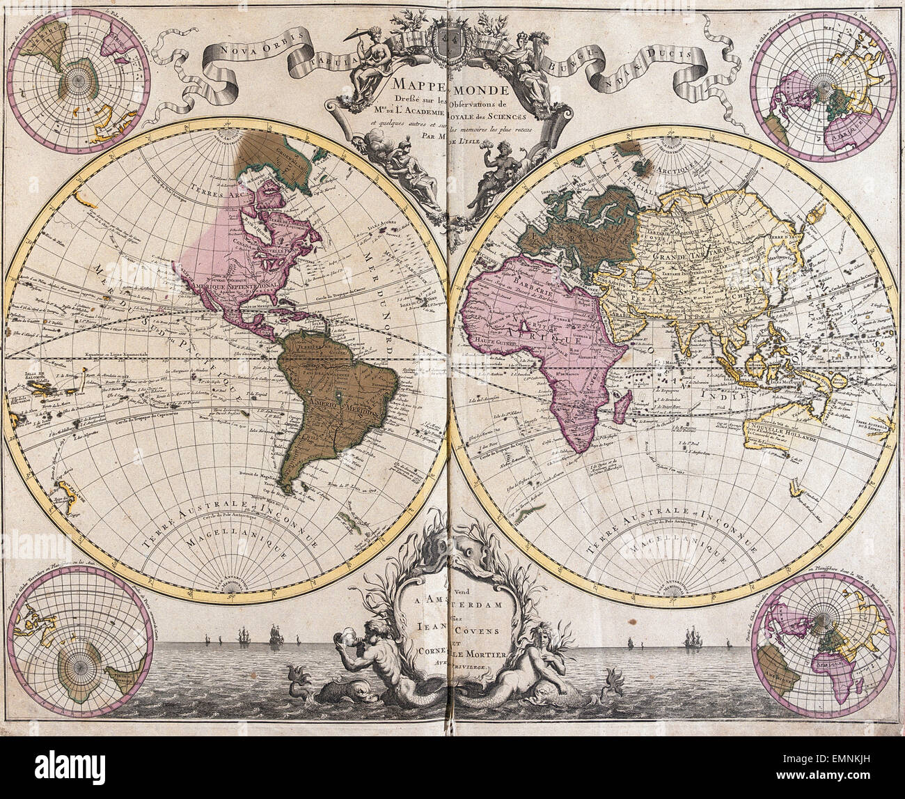 An old map of the world by g de lisle in atlas nouveau 1730 an old map of the world by g de lisle in atlas nouveau 1730 gumiabroncs Gallery
