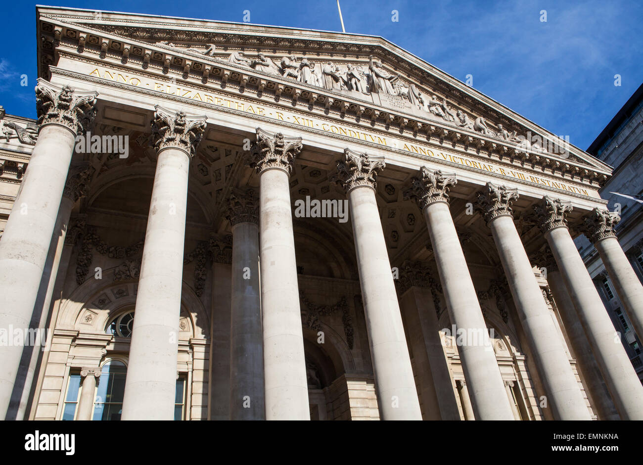 The magnificent exterior of the Royal Exchange in London. - Stock Image