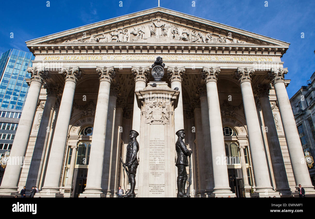 LONDON, UK - APRIL 20TH 2015: A view of the Royal Exchange building in the City of London on 20th April 2015. - Stock Image