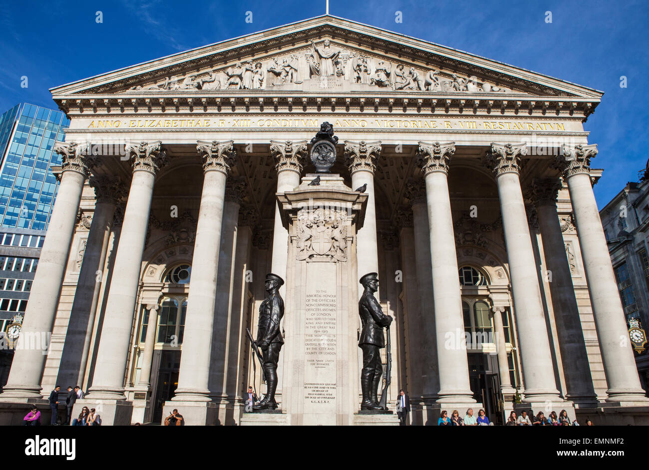 LONDON, UK - APRIL 20TH 2015: A view of the exterior of the Royal Exchange building in the City of London on 20th - Stock Image