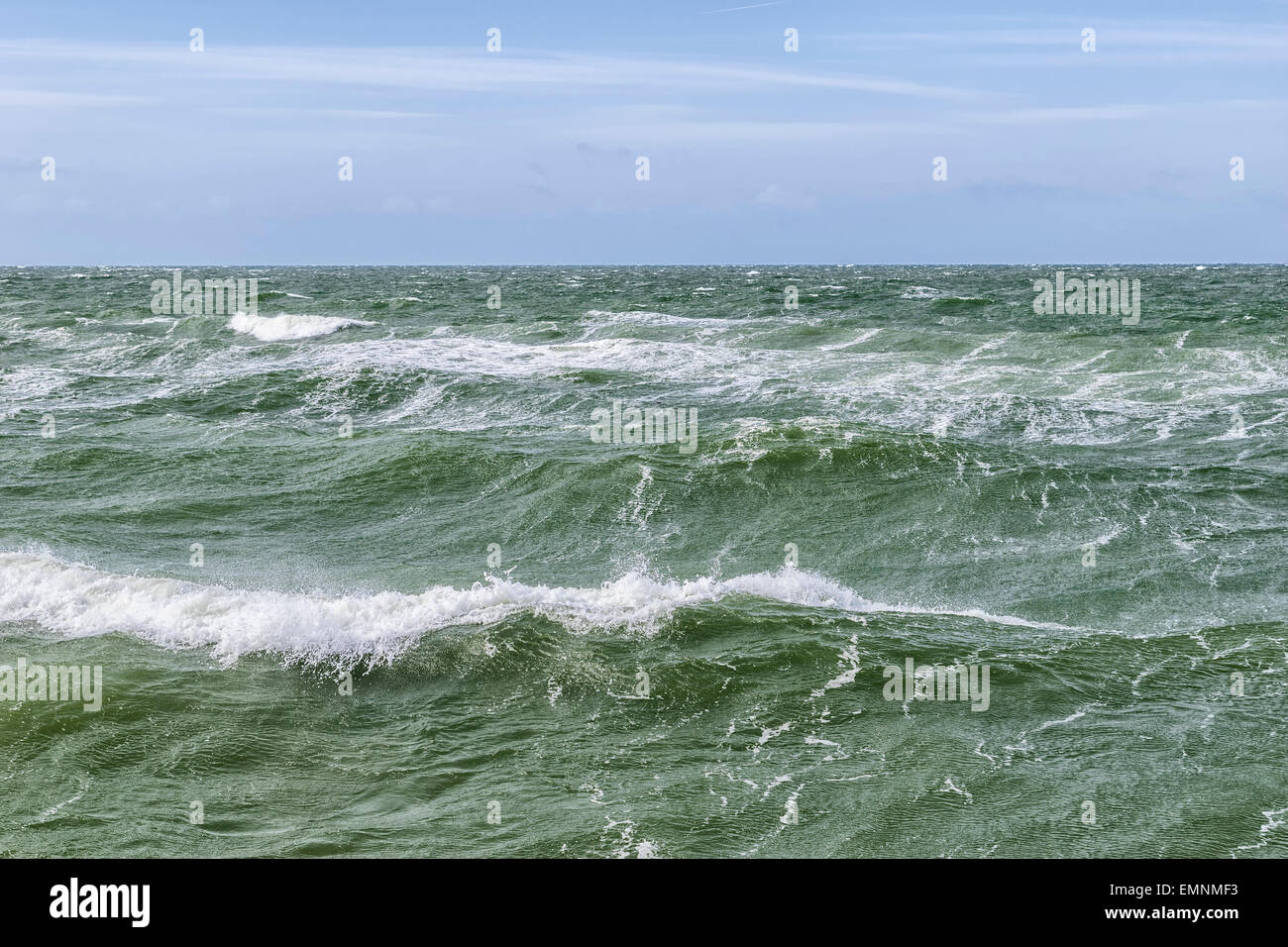 Image of the surface of the water and waves of the Baltic Sea on a stormy day Stock Photo