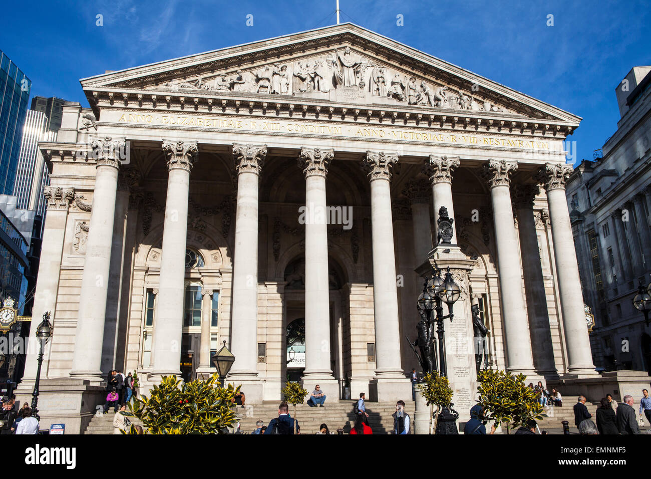 LONDON, UK - APRIL 20TH 2015: A view of the Royal Exchange in the City of London on 20th April 2015. - Stock Image