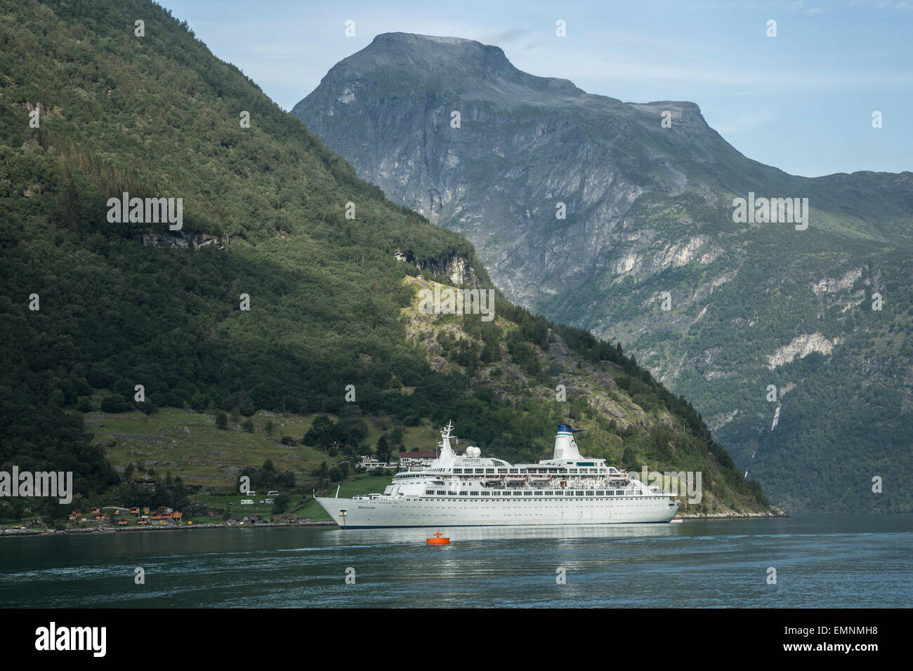 Cruise ship Discovery in Gerainger fjord Norway Stock Photo