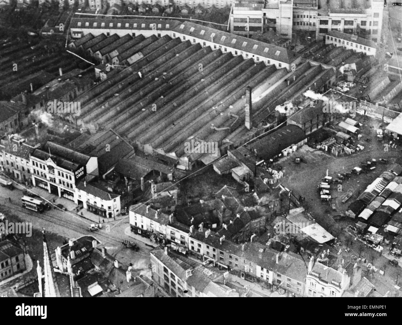 Aerial view of Rover Car Works at Coventry. - Stock Image