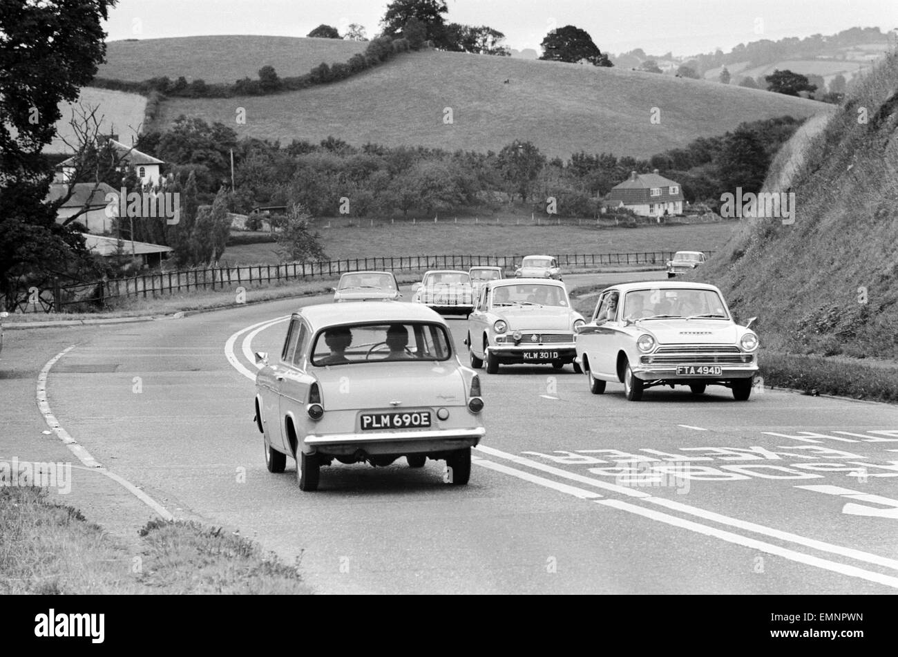 Scenes on the Exeter by pass as holidaymakers head for the South Coast. 3rd September 1969. Stock Photo