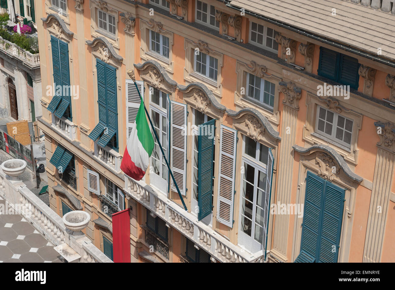 Genoa museum, view of the front of the Palazzo Bianco in the center of Genova, Liguria, Italy. - Stock Image