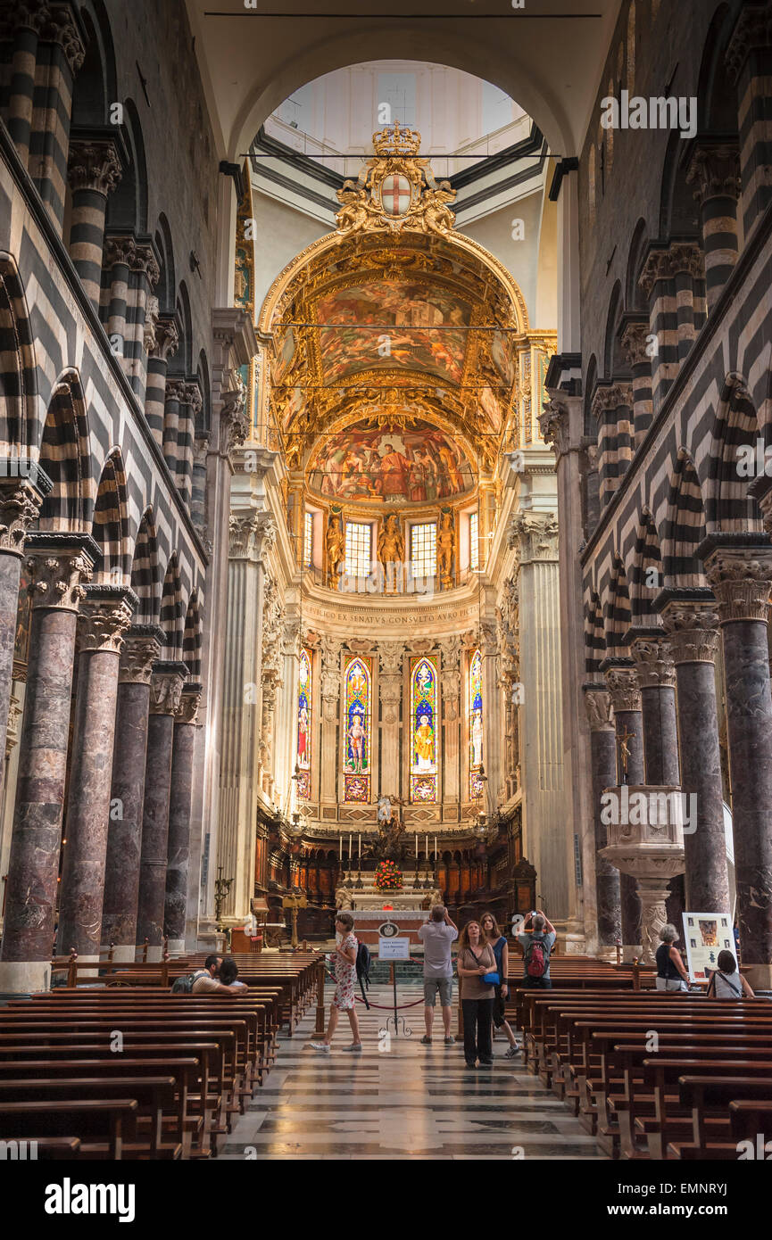 Genoa cathedral, the interior of Genoa's cathedral, the Cattedrale di San Lorenzo, Liguria, Italy. - Stock Image