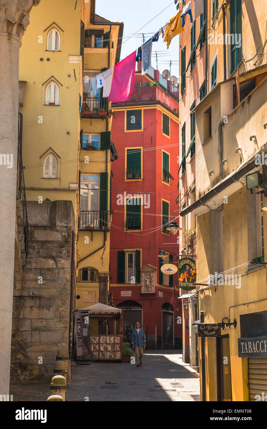 Genoa alley, a typically narrow street in the medieval heart of Genoa - the Centro Storico; Liguria, Italy. - Stock Image