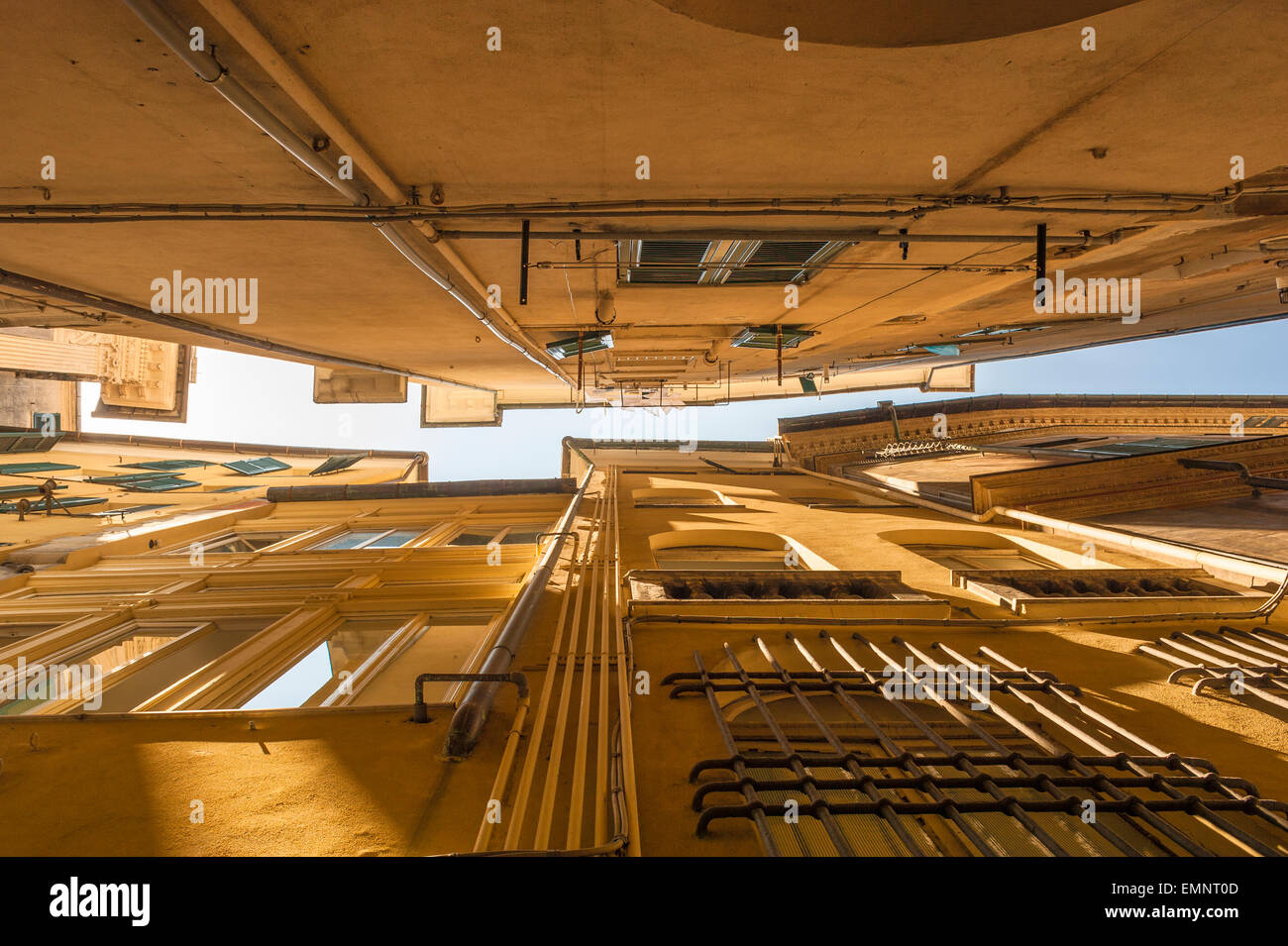 Genoa street, the view up from ground level in a typically narrow alley in the medieval heart of Genoa - the Centro - Stock Image